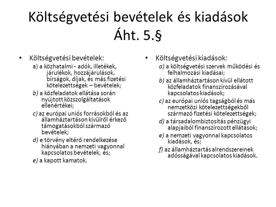 Költségvetési bevételek és kiadások Áht. 5.§ Költségvetési bevételek: a) a közhatalmi - adók, illetékek, járulékok, hozzájárulások, bírságok, díjak, é