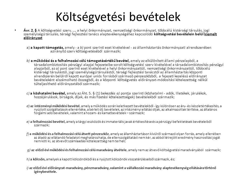 Költségvetési bevételek Ávr. 2. § A költségvetési szerv, …, a helyi önkormányzat, nemzetiségi önkormányzat, többcélú kistérségi társulás, jogi személy