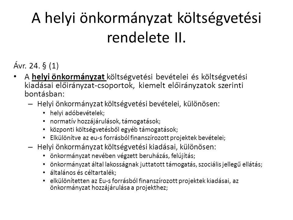 A helyi önkormányzat költségvetési rendelete II. Ávr.