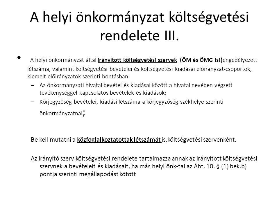 A helyi önkormányzat költségvetési rendelete IV.Áht.