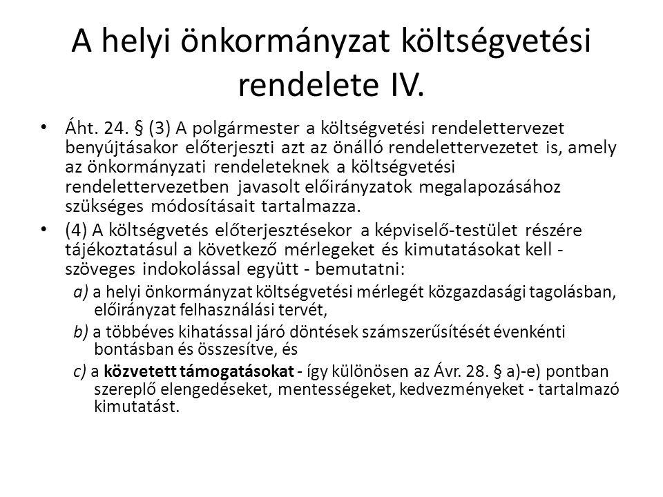 A helyi önkormányzat költségvetési rendelete IV. Áht. 24. § (3) A polgármester a költségvetési rendelettervezet benyújtásakor előterjeszti azt az önál