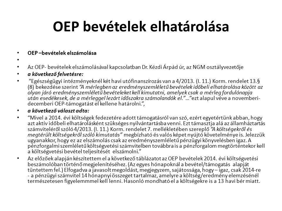 OEP bevételek elhatárolása OEP –bevételek elszámolása Az OEP- bevételek elszámolásával kapcsolatban Dr. Kézdi Árpád úr, az NGM osztályvezetője a követ