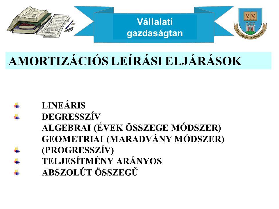 Vállalati gazdaságtan AMORTIZÁCIÓS LEÍRÁSI ELJÁRÁSOK LINEÁRIS DEGRESSZÍV ALGEBRAI (ÉVEK ÖSSZEGE MÓDSZER) GEOMETRIAI (MARADVÁNY MÓDSZER) (PROGRESSZÍV) TELJESÍTMÉNY ARÁNYOS ABSZOLÚT ÖSSZEGŰ