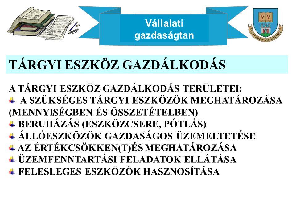 Vállalati gazdaságtan AMORTIZÁCIÓS LEÍRÁSI ELJÁRÁSOK LINEÁRIS MÓDSZER: EGYENLETES ÜTEM A DEGRESSZÍV AMORTIZÁCIÓS MÓDSZER ELŐNYEI: - ALACSONYABB A MŰSZAKI FEJLŐDÉS OKOZTA KOCKÁZAT - GYORSÍTOTT TŐKEFELSZABADULÁS – KISEBB TŐKEVESZTÉSI KOCKÁZAT - A TERMÉK KÖLTSÉGVISELŐ KÉPESSÉGÉNEK ÖSSZEHANGOLÁSA AZ ÁRPOLITIKÁVAL