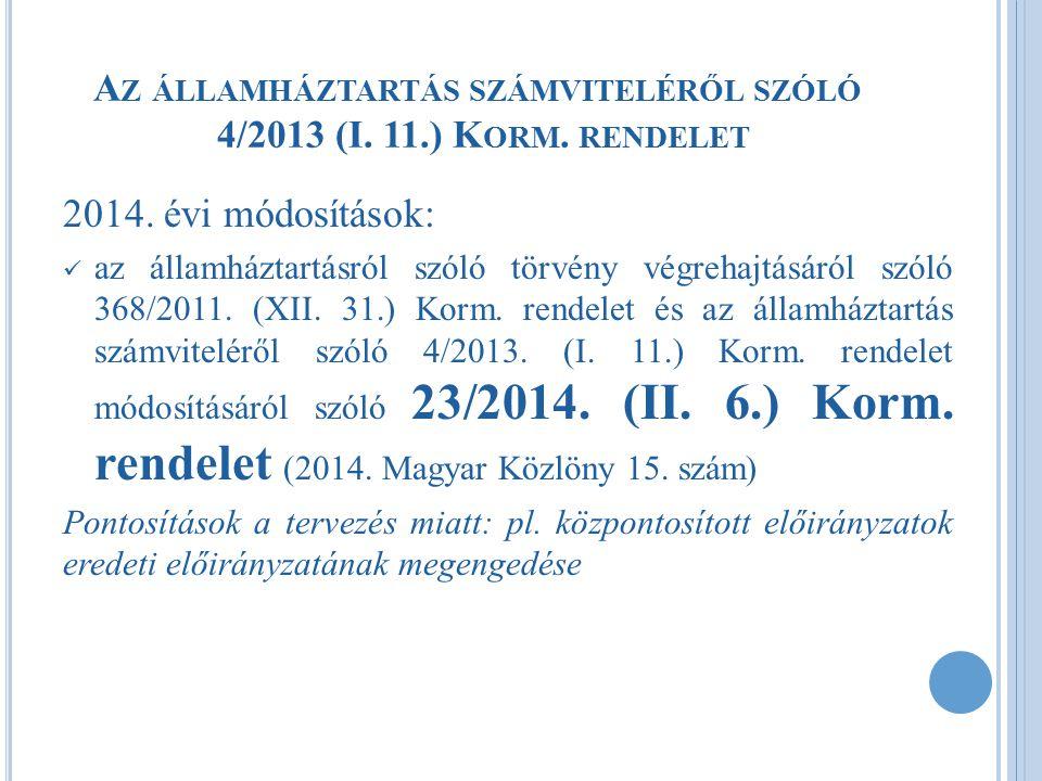 2014.ÉVI VÁLTOZÁSOK - PONTOSÍTÁS  Nyilvántartási számlákat alábontását érintő korlátozás: K512.