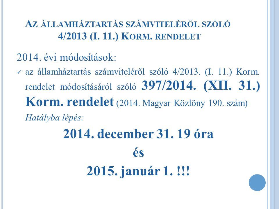 2014.ÉVI VÁLTOZÁSOK  Mellékletek módosítása: 10.