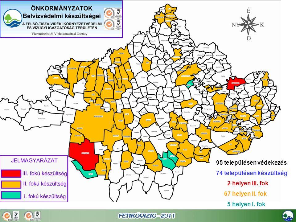95 településen védekezés 74 településen készültség 2 helyen III. fok 67 helyen II. fok 5 helyen I. fok