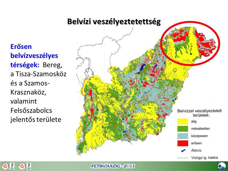 Belvízi veszélyeztetettség Erősen belvízveszélyes térségek: Bereg, a Tisza-Szamosköz és a Szamos- Krasznaköz, valamint Felsőszabolcs jelentős területe