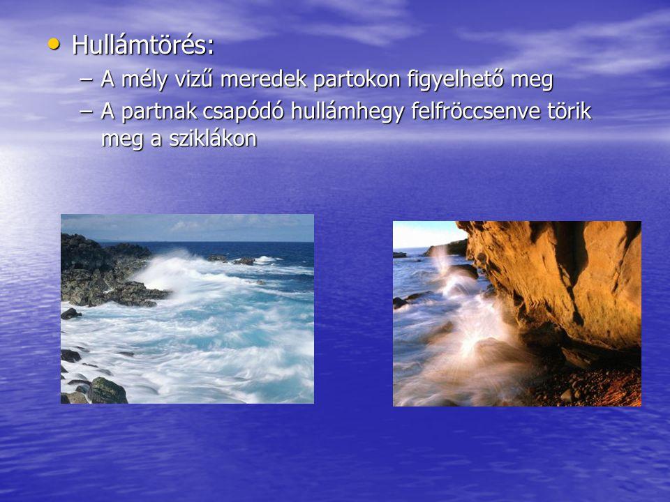 Tengeráramlás A tengervíz tartósan egy irányba való mozgása A tengervíz tartósan egy irányba való mozgása A mozgásban a víztömeg felső pár száz m része vesz részt A mozgásban a víztömeg felső pár száz m része vesz részt Az óceáni áramlatokat a tartósan azonos irányba fújó szelek, azaz az általános légkörzés szelei mozgatják Az óceáni áramlatokat a tartósan azonos irányba fújó szelek, azaz az általános légkörzés szelei mozgatják Irányát a Coriolis-erő és a szf-ek szabálytalan eloszlása, alakja módosítja Irányát a Coriolis-erő és a szf-ek szabálytalan eloszlása, alakja módosítja