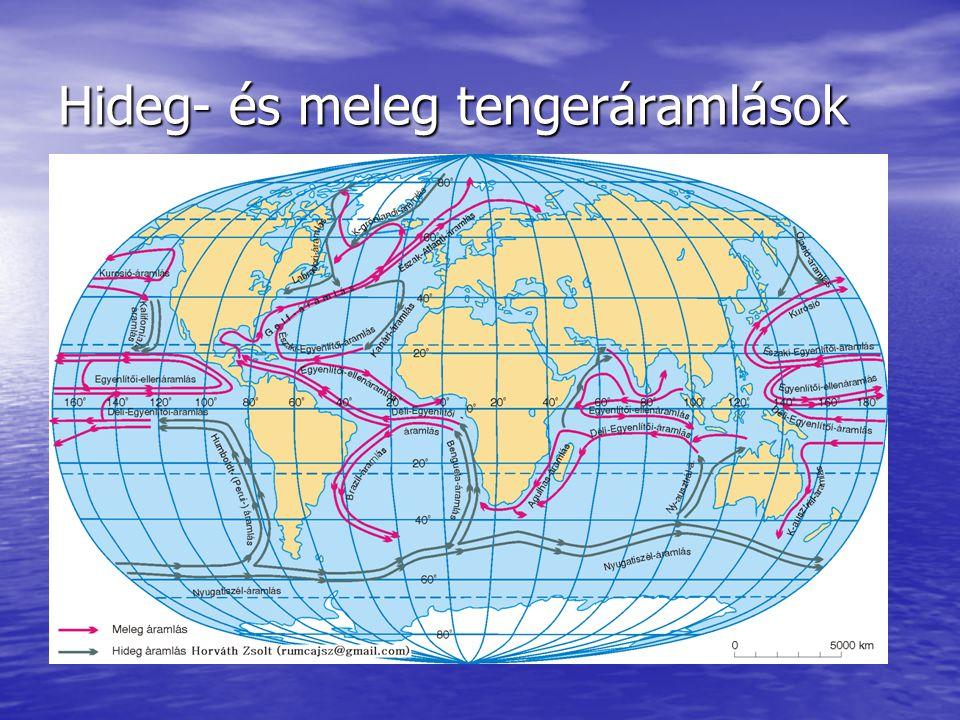 Az Egyenlítőtől a sarkok felé haladó áramlások környezetükhöz képest melegebbek, ezek a meleg tengeráramlások Az Egyenlítőtől a sarkok felé haladó áramlások környezetükhöz képest melegebbek, ezek a meleg tengeráramlások A sarkoktól az Egyenlítő felé tartóak viszont hidegebbek, ezek a hideg tengeráramlások A sarkoktól az Egyenlítő felé tartóak viszont hidegebbek, ezek a hideg tengeráramlások Módosító hatása: Módosító hatása: –A parti területek évi középhőmérséklete melegebb vagy hidegebb lesz →pozitív illetve negatív hőmérsékleti anomália