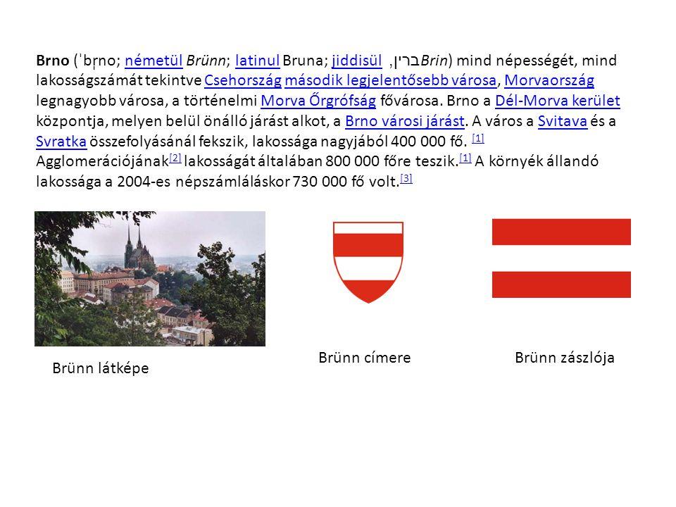 Brno (ˈbr̩no; németül Brünn; latinul Bruna; jiddisül ברין, Brin) mind népességét, mind lakosságszámát tekintve Csehország második legjelentősebb város