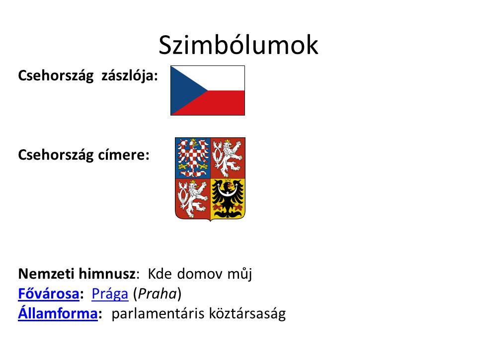 Szimbólumok Csehország zászlója: Csehország címere: Nemzeti himnusz: Kde domov můj FővárosaFővárosa: Prága (Praha)Prága ÁllamformaÁllamforma: parlamen