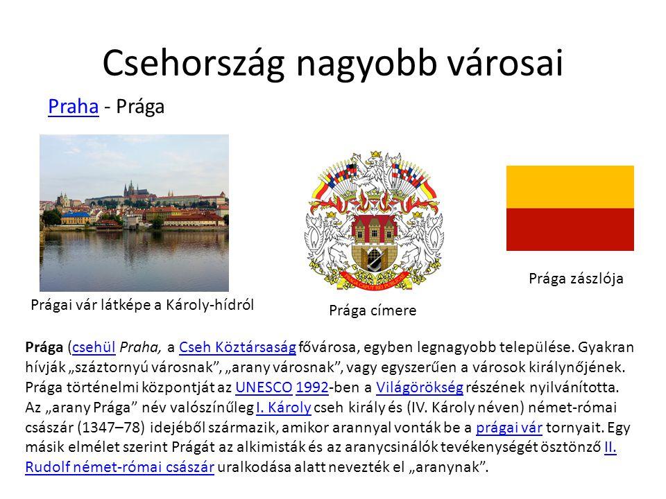 Csehország nagyobb városai Praha - Prága Praha Prágai vár látképe a Károly-hídról Prága címere Prága zászlója Prága (csehül Praha, a Cseh Köztársaság