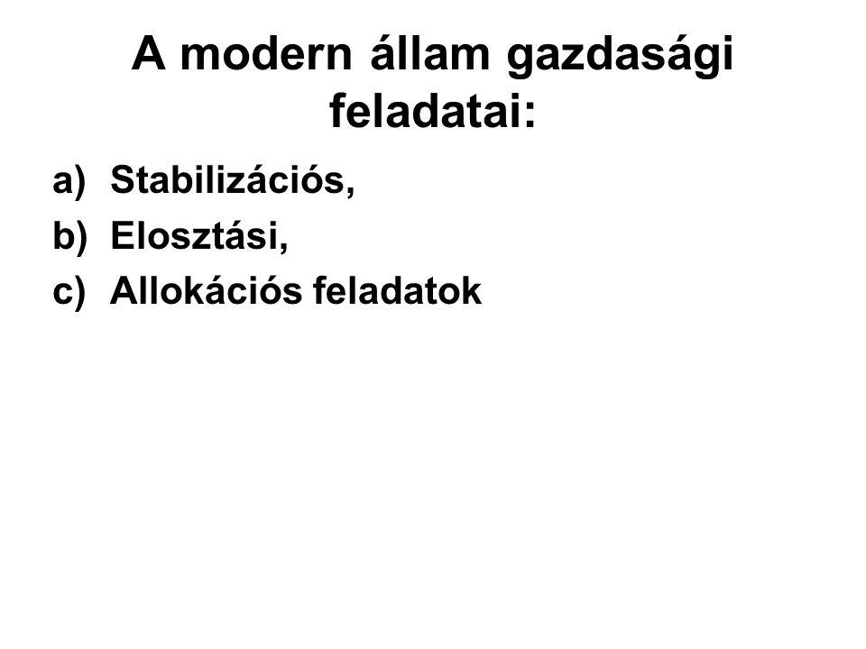 a)Stabilizációs, b)Elosztási, c)Allokációs feladatok A modern állam gazdasági feladatai: