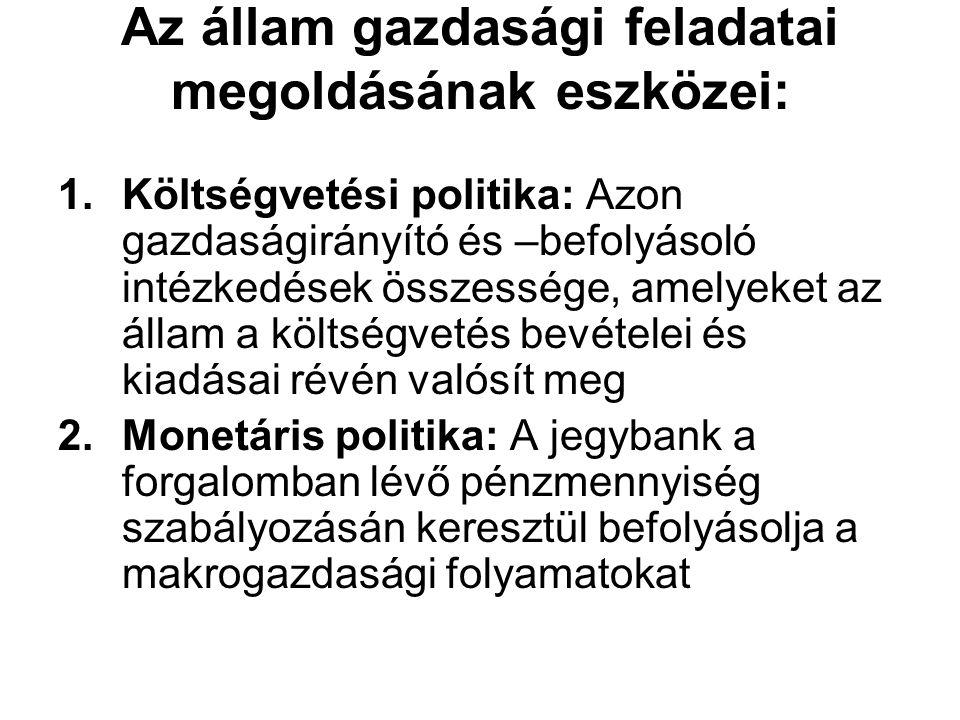 Az állam gazdasági feladatai megoldásának eszközei: 1.Költségvetési politika: Azon gazdaságirányító és –befolyásoló intézkedések összessége, amelyeket az állam a költségvetés bevételei és kiadásai révén valósít meg 2.Monetáris politika: A jegybank a forgalomban lévő pénzmennyiség szabályozásán keresztül befolyásolja a makrogazdasági folyamatokat