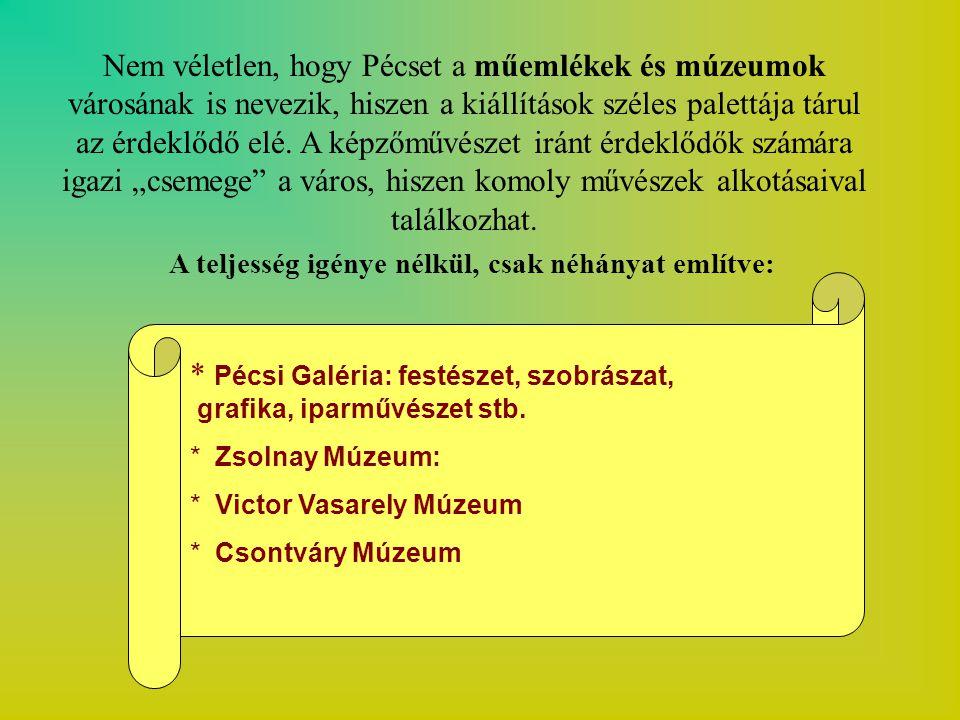 Nem véletlen, hogy Pécset a műemlékek és múzeumok városának is nevezik, hiszen a kiállítások széles palettája tárul az érdeklődő elé.
