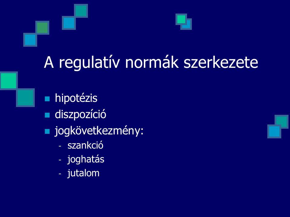 A regulatív normák szerkezete hipotézis diszpozíció jogkövetkezmény: - szankció - joghatás - jutalom