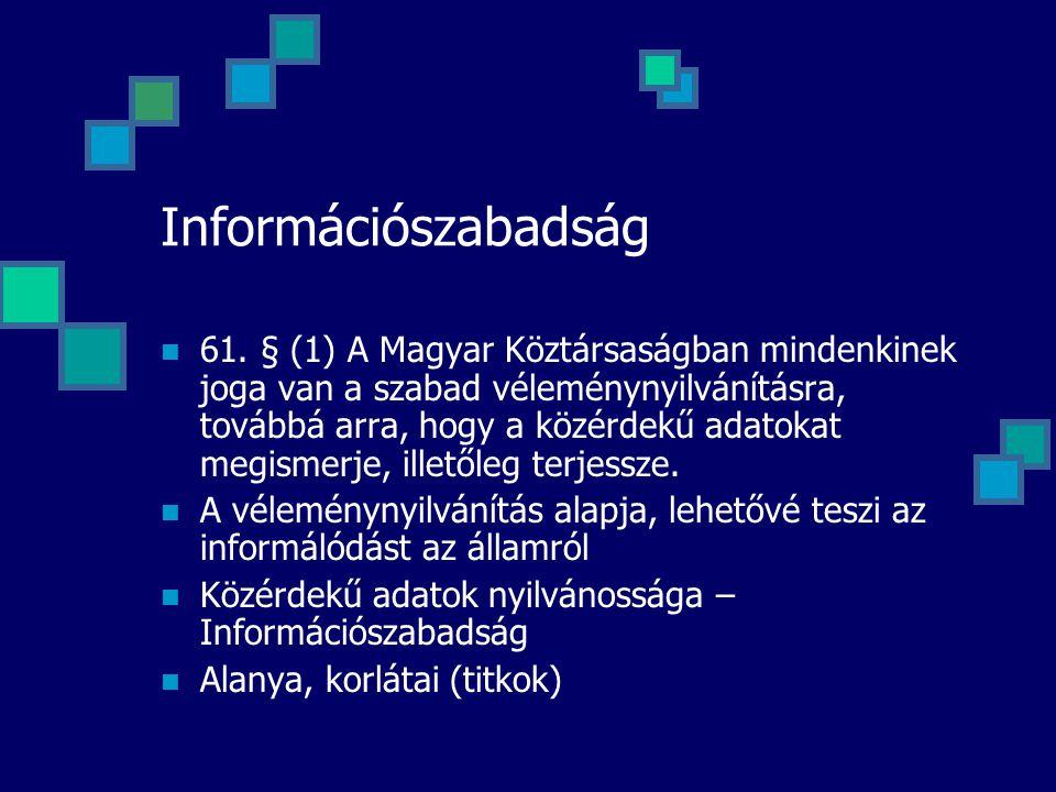 Információszabadság 61. § (1) A Magyar Köztársaságban mindenkinek joga van a szabad véleménynyilvánításra, továbbá arra, hogy a közérdekű adatokat meg