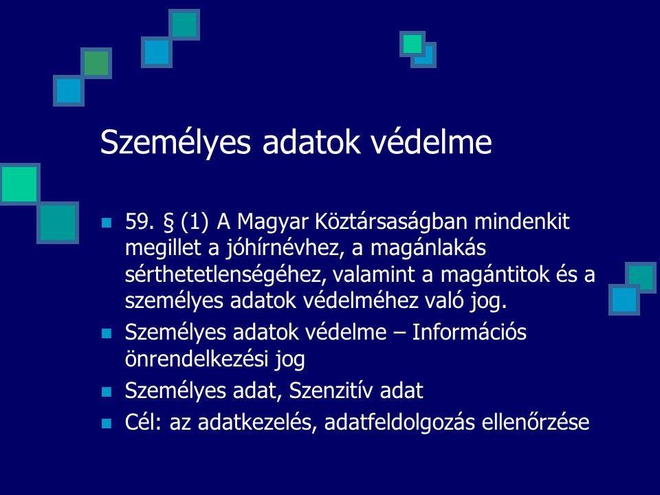 Személyes adatok védelme 59. § (1) A Magyar Köztársaságban mindenkit megillet a jóhírnévhez, a magánlakás sérthetetlenségéhez, valamint a magántitok é