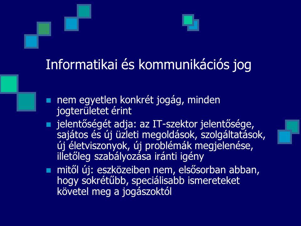 Informatikai és kommunikációs jog nem egyetlen konkrét jogág, minden jogterületet érint jelentőségét adja: az IT-szektor jelentősége, sajátos és új üz