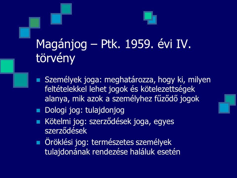 Magánjog – Ptk. 1959. évi IV. törvény Személyek joga: meghatározza, hogy ki, milyen feltételekkel lehet jogok és kötelezettségek alanya, mik azok a sz