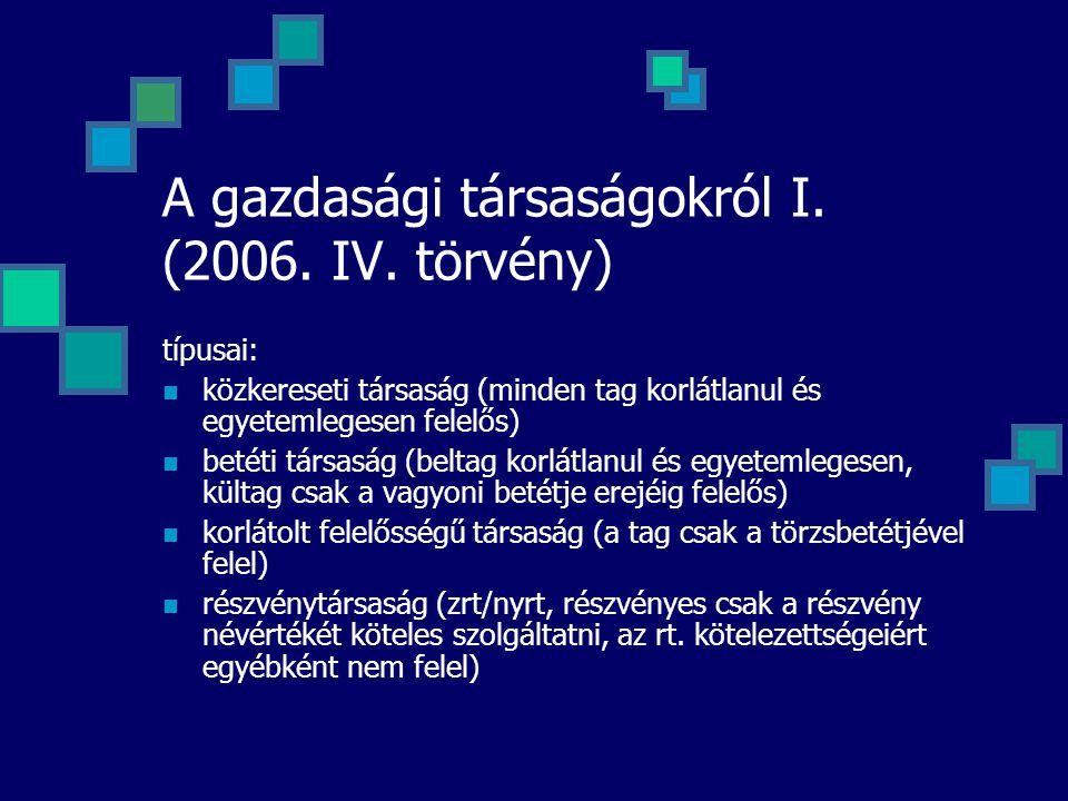 A gazdasági társaságokról I. (2006. IV. törvény) típusai: közkereseti társaság (minden tag korlátlanul és egyetemlegesen felelős) betéti társaság (bel