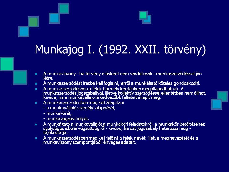 Munkajog I. (1992. XXII. törvény) A munkaviszony - ha törvény másként nem rendelkezik - munkaszerződéssel jön létre. A munkaszerződést írásba kell fog