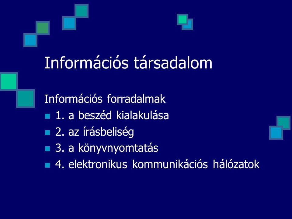 Információs társadalom Információs forradalmak 1. a beszéd kialakulása 2. az írásbeliség 3. a könyvnyomtatás 4. elektronikus kommunikációs hálózatok