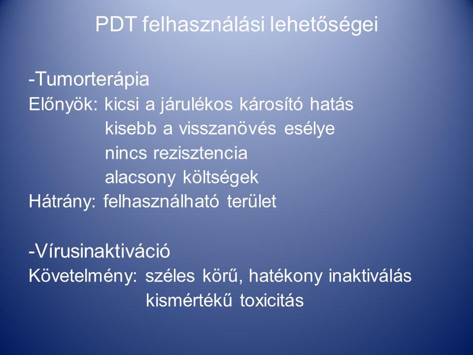 PDT felhasználási lehetőségei -Tumorterápia Előnyök: kicsi a járulékos károsító hatás kisebb a visszanövés esélye nincs rezisztencia alacsony költségek Hátrány: felhasználható terület -Vírusinaktiváció Követelmény: széles körű, hatékony inaktiválás kismértékű toxicitás
