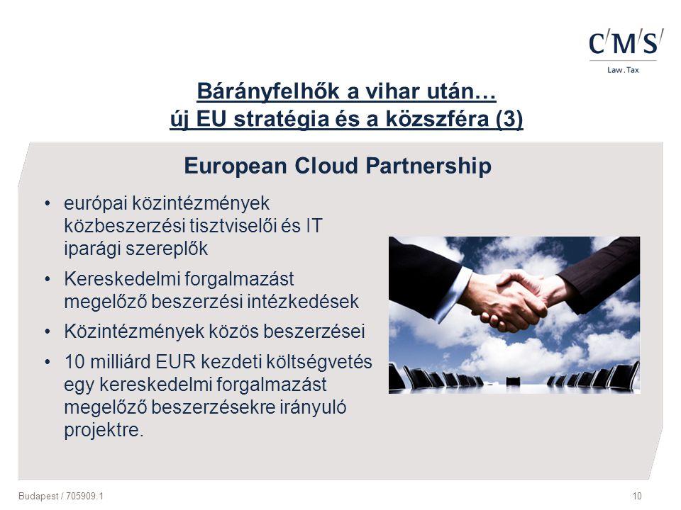 Budapest / 705909.110 Bárányfelhők a vihar után… új EU stratégia és a közszféra (3) európai közintézmények közbeszerzési tisztviselői és IT iparági sz