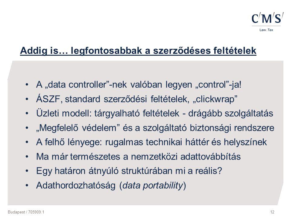 """Budapest / 705909.112 Addig is… legfontosabbak a szerződéses feltételek A """"data controller""""-nek valóban legyen """"control""""-ja! ÁSZF, standard szerződési"""