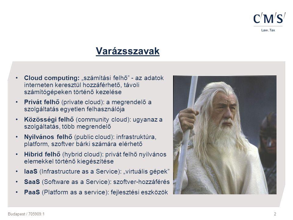 """Budapest / 705909.12 Varázsszavak Cloud computing: """"számítási felhő"""" - az adatok interneten keresztül hozzáférhető, távoli számítógépeken történő keze"""