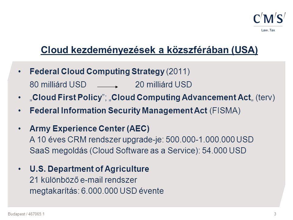 """Budapest / 467065.13 Cloud kezdeményezések a közszférában (USA) Federal Cloud Computing Strategy (2011) 80 milliárd USD 20 milliárd USD """"Cloud First P"""