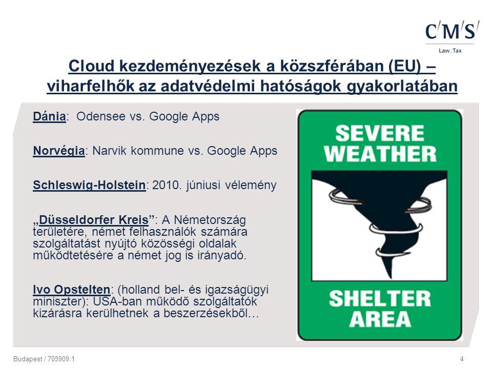 Budapest / 705909.14 Cloud kezdeményezések a közszférában (EU) – viharfelhők az adatvédelmi hatóságok gyakorlatában Dánia: Odensee vs. Google Apps Nor