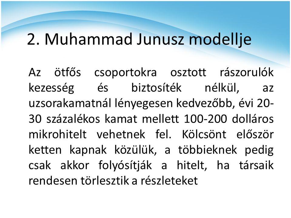 2. Muhammad Junusz modellje Az ötfős csoportokra osztott rászorulók kezesség és biztosíték nélkül, az uzsorakamatnál lényegesen kedvezőbb, évi 20- 30