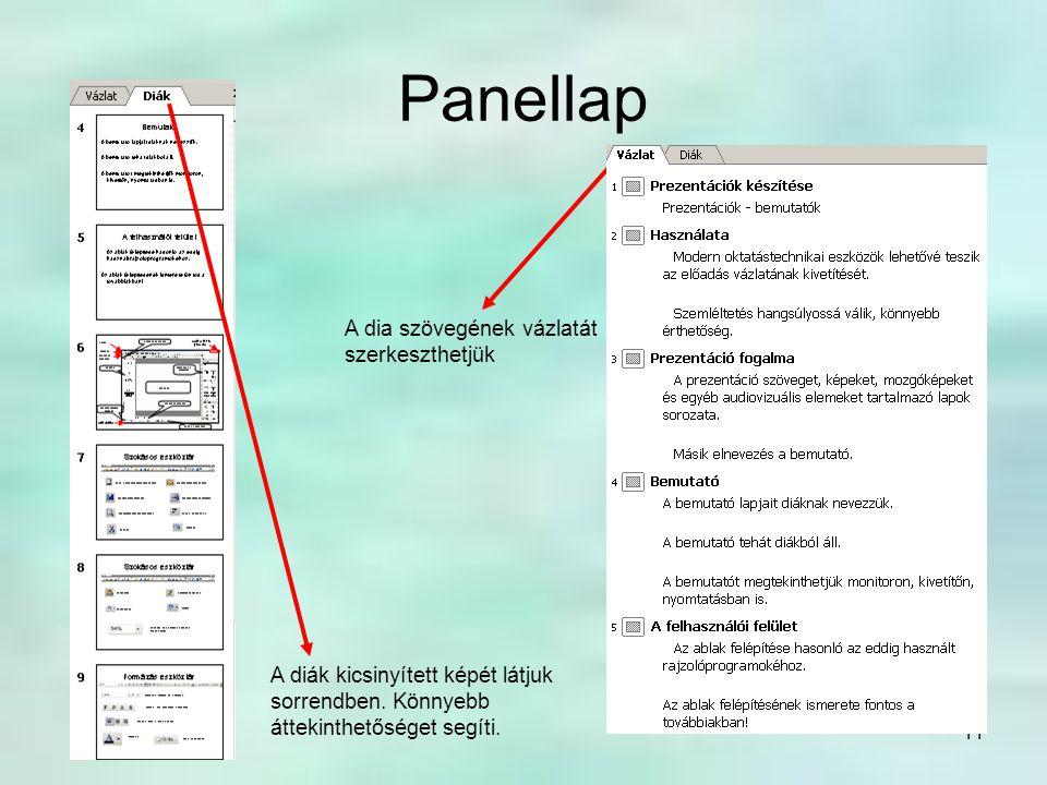 11 Panellap A diák kicsinyített képét látjuk sorrendben. Könnyebb áttekinthetőséget segíti. A dia szövegének vázlatát szerkeszthetjük