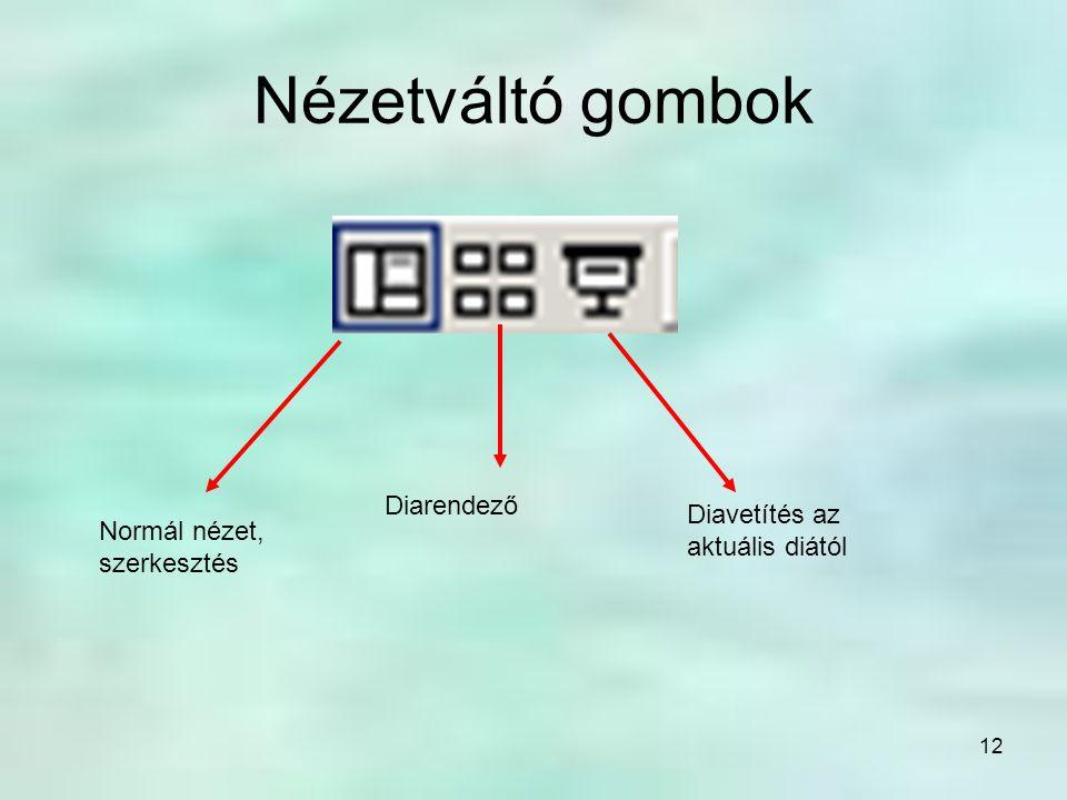 12 Nézetváltó gombok Normál nézet, szerkesztés Diarendező Diavetítés az aktuális diától