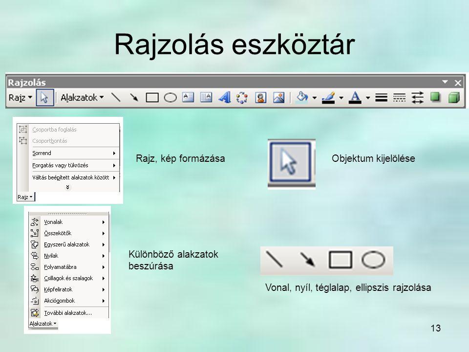 13 Rajzolás eszköztár Rajz, kép formázásaObjektum kijelölése Különböző alakzatok beszúrása Vonal, nyíl, téglalap, ellipszis rajzolása