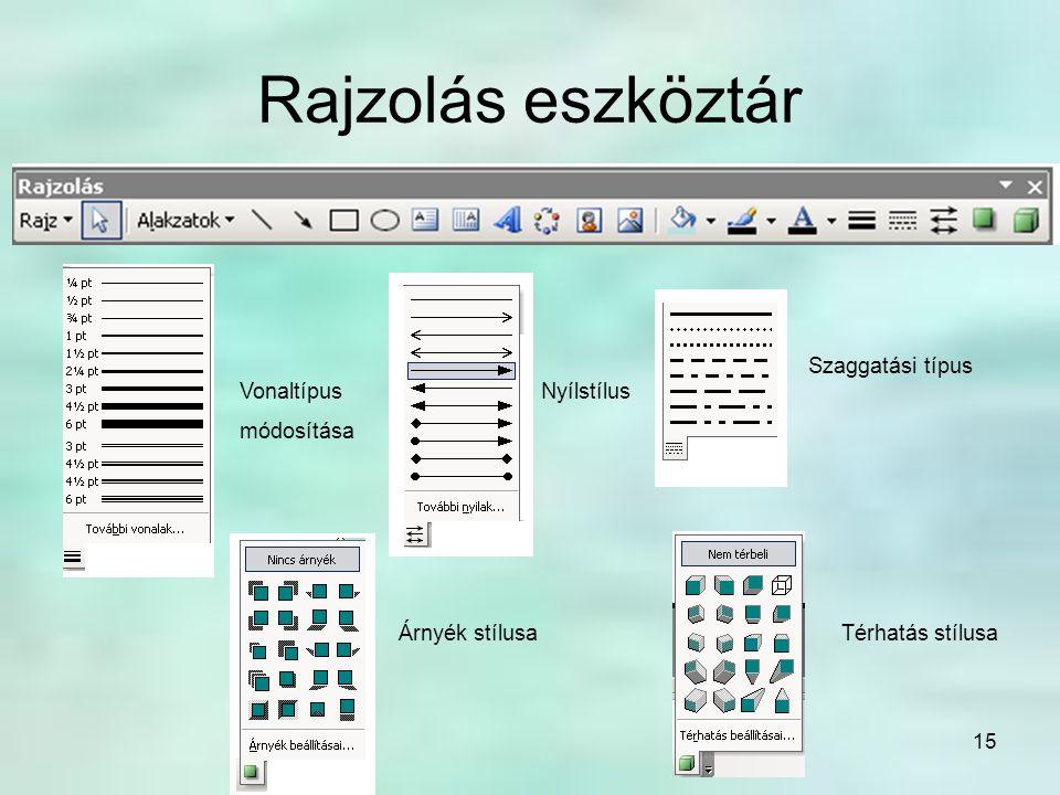 15 Rajzolás eszköztár Vonaltípus módosítása Szaggatási típus Nyílstílus Árnyék stílusaTérhatás stílusa