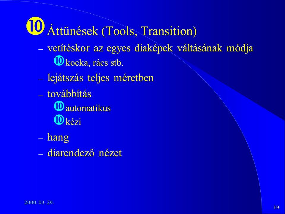19 2000. 03. 29. Áttünések (Tools, Transition) – vetítéskor az egyes diaképek váltásának módja kocka, rács stb. – lejátszás teljes méretben – továbbít