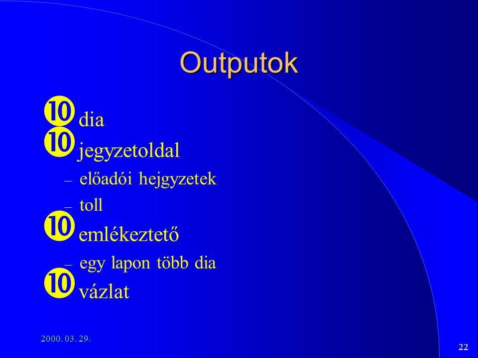 22 2000. 03. 29. Outputok dia jegyzetoldal – előadói hejgyzetek – toll emlékeztető – egy lapon több dia vázlat