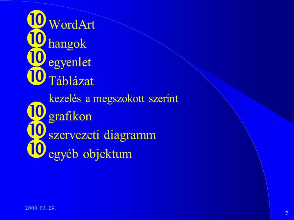 7 2000. 03. 29. WordArt hangok egyenlet Táblázat – kezelés a megszokott szerint grafikon szervezeti diagramm egyéb objektum