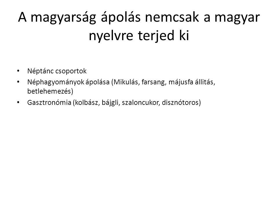 A magyarság ápolás nemcsak a magyar nyelvre terjed ki Néptánc csoportok Néphagyományok ápolása (Mikulás, farsang, májusfa állitás, betlehemezés) Gasztronómia (kolbász, bájgli, szaloncukor, disznótoros)