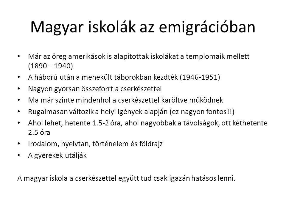Magyar iskolák az emigrációban Már az öreg amerikások is alapitottak iskolákat a templomaik mellett (1890 – 1940) A háború után a menekült táborokban kezdték (1946-1951) Nagyon gyorsan összeforrt a cserkészettel Ma már szinte mindenhol a cserkészettel karöltve működnek Rugalmasan változik a helyi igények alapján (ez nagyon fontos!!) Ahol lehet, hetente 1.5-2 óra, ahol nagyobbak a távolságok, ott kéthetente 2.5 óra Irodalom, nyelvtan, történelem és földrajz A gyerekek utálják A magyar iskola a cserkészettel együtt tud csak igazán hatásos lenni.