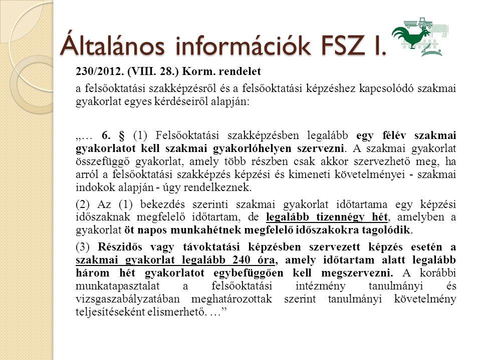 Általános információk FSZ I. 230/2012. (VIII. 28.) Korm. rendelet a felsőoktatási szakképzésről és a felsőoktatási képzéshez kapcsolódó szakmai gyakor