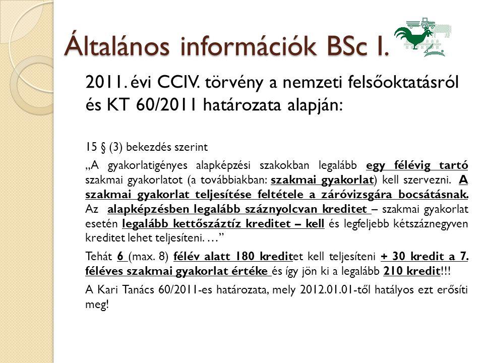"""Általános információk BSc I. 2011. évi CCIV. törvény a nemzeti felsőoktatásról és KT 60/2011 határozata alapján: 15 § (3) bekezdés szerint """"A gyakorla"""