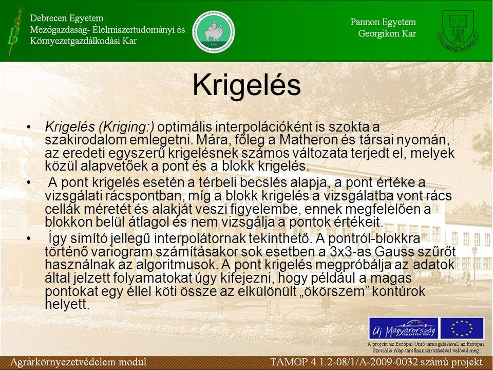 Krigelés Krigelés (Kriging:) optimális interpolációként is szokta a szakirodalom emlegetni. Mára, főleg a Matheron és társai nyomán, az eredeti egysze