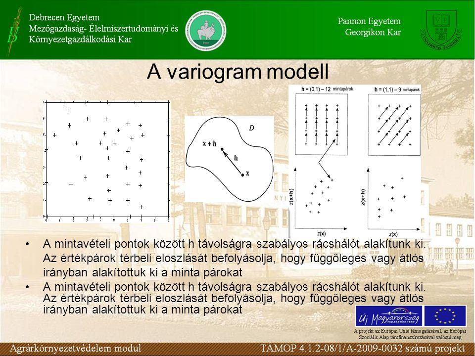 A variogram modell A mintavételi pontok között h távolságra szabályos rácshálót alakítunk ki. Az értékpárok térbeli eloszlását befolyásolja, hogy függ