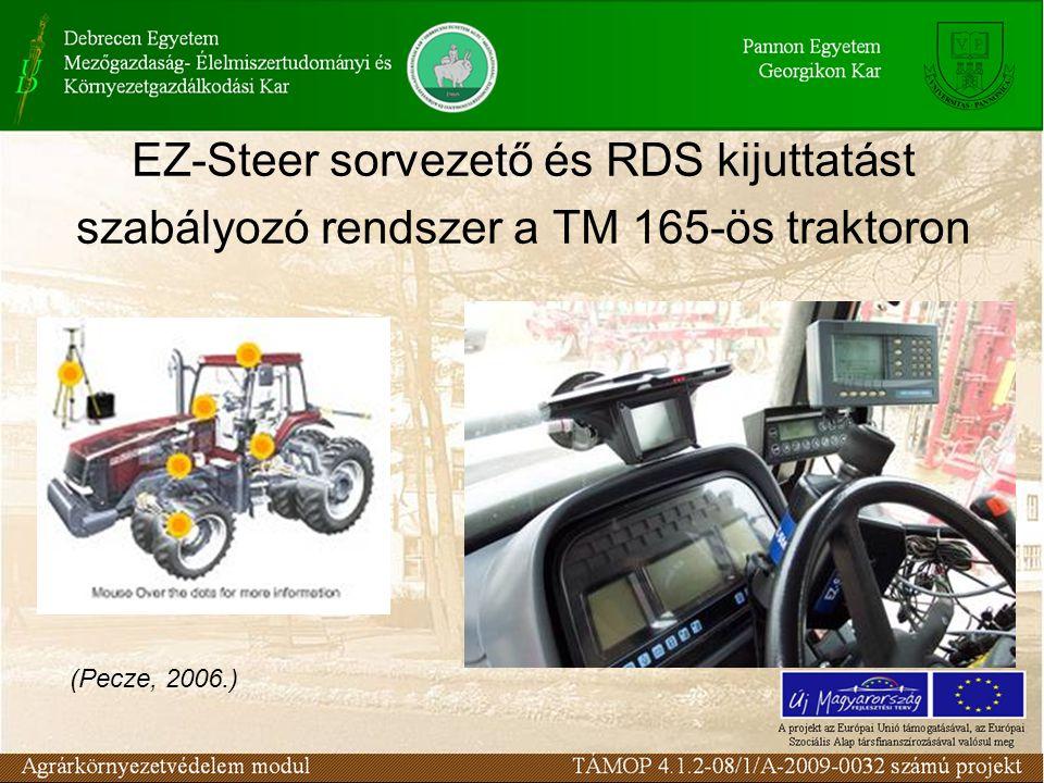 EZ-Steer sorvezető és RDS kijuttatást szabályozó rendszer a TM 165-ös traktoron (Pecze, 2006.)