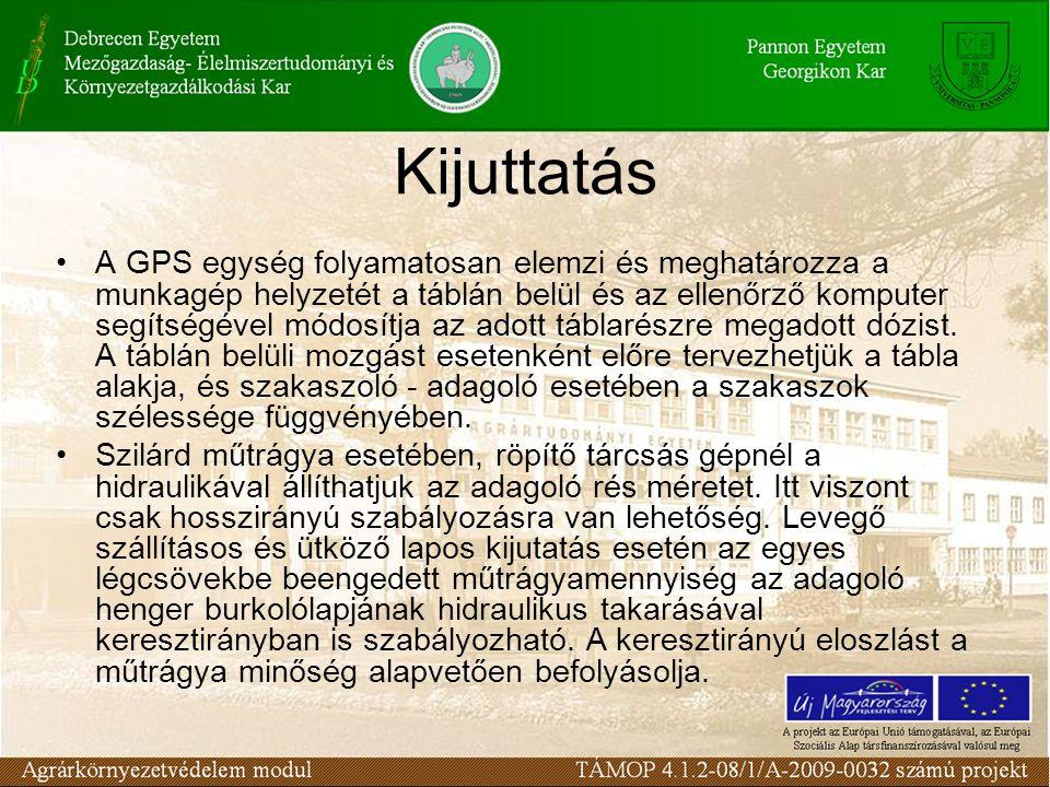 Kijuttatás A GPS egység folyamatosan elemzi és meghatározza a munkagép helyzetét a táblán belül és az ellenőrző komputer segítségével módosítja az ado